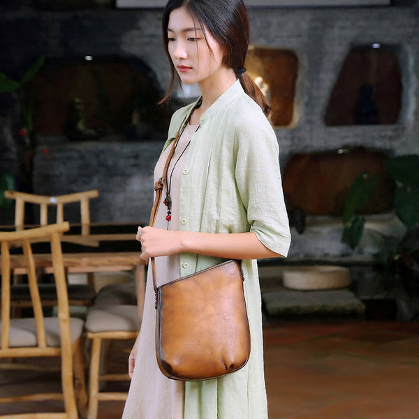Handmade Genuine Leather Vintage Crossbody Shoulder Bags Purses Women beautiful 2