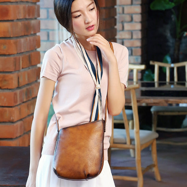 Handmade Genuine Leather Vintage Crossbody Shoulder Bags Purses Women