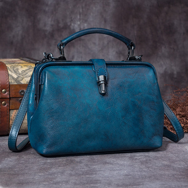 Handmade Genuine Leather Vintage Handbag Crossbody Shoulder Bags Purses Women Blue
