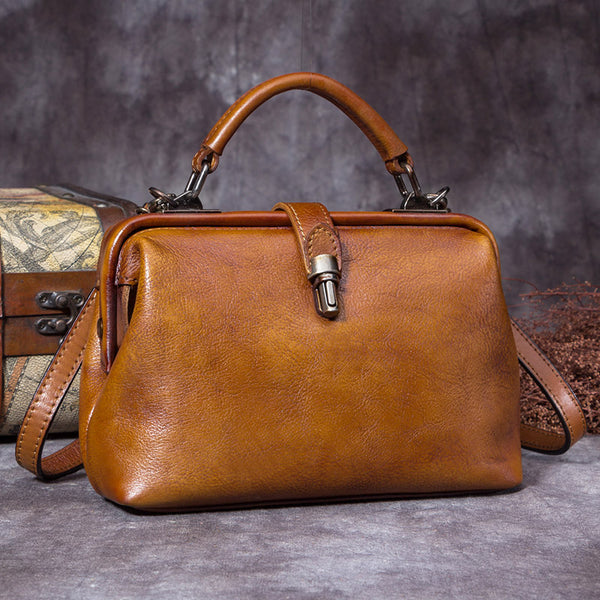 Handmade Genuine Leather Vintage Handbag Crossbody Shoulder Bags Purses Women Brown