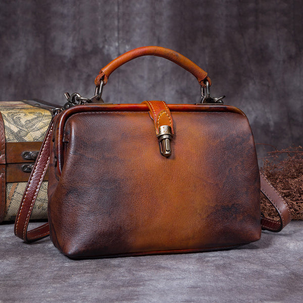 Handmade Genuine Leather Vintage Handbag Crossbody Shoulder Bags Purses Women Coffee