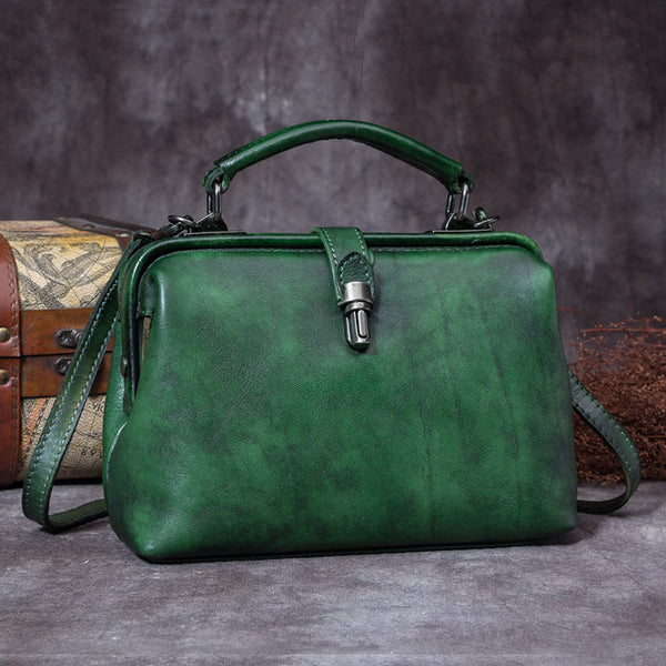 Handmade Genuine Leather Vintage Handbag Crossbody Shoulder Bags Purses Women Green