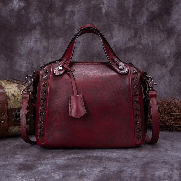 Handmade Genuine Leather Vintage Handbag Crossbody Shoulder Bags Purses Women Red small