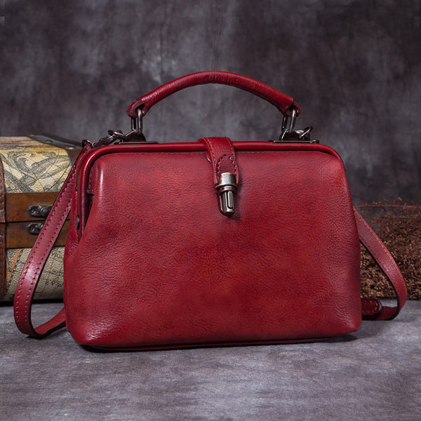 Handmade Genuine Leather Vintage Handbag Crossbody Shoulder Bags Purses Women Red