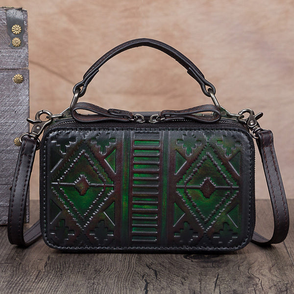 Handmade Genuine Leather Vintage Handbag Crossbody Shoulder Bags Purses Women dark-Green