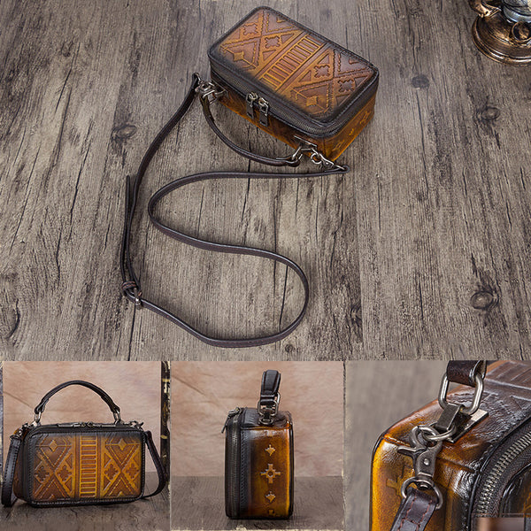 Handmade Genuine Leather Vintage Handbag Crossbody Shoulder Bags Purses Women details