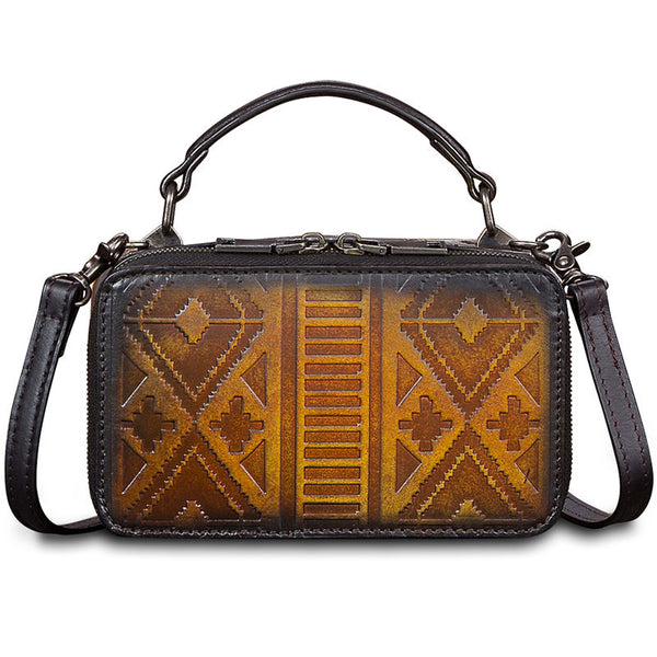 Handmade Genuine Leather Vintage Handbag Crossbody Shoulder Bags Purses Women Brown gift