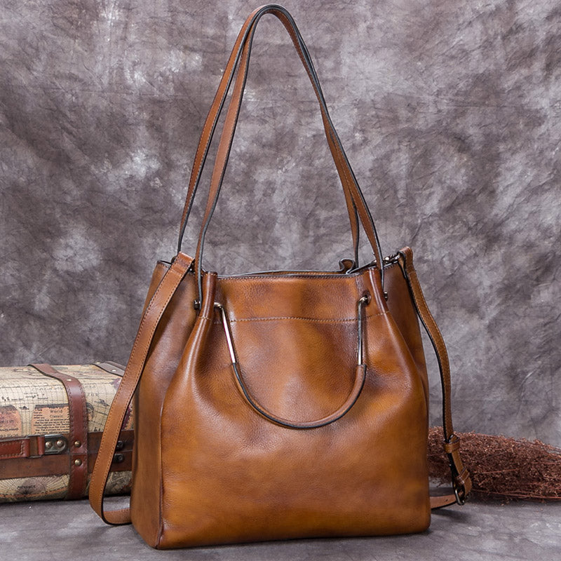 Handmade Genuine Leather Vintage Handbag Crossbody Shoulder Bucket Bags Purses Women Brown