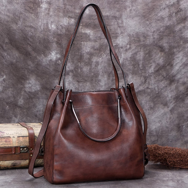 Handmade Genuine Leather Vintage Handbag Crossbody Shoulder Bucket Bags Purses Women Coffee