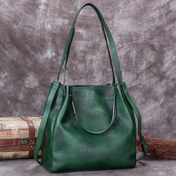 Handmade Genuine Leather Vintage Handbag Crossbody Shoulder Bucket Bags Purses Women Green