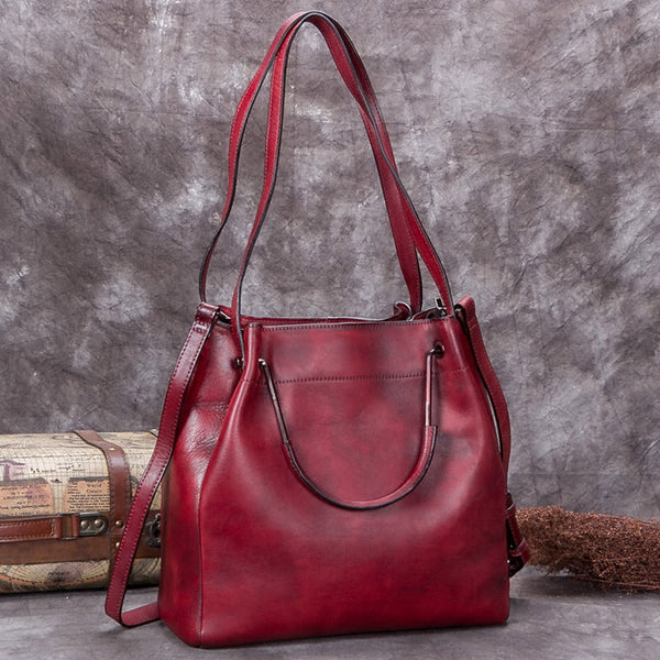 Handmade Genuine Leather Vintage Handbag Crossbody Shoulder Bucket Bags Purses Women Red