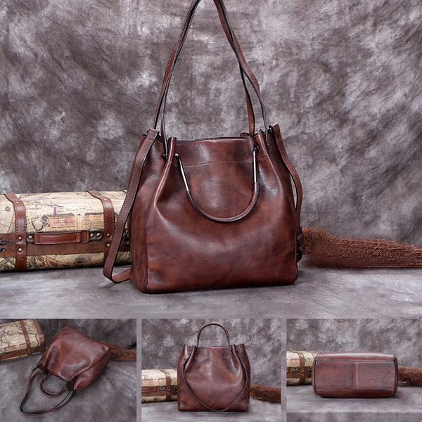 Handmade Genuine Leather Vintage Handbag Crossbody Shoulder Bucket Bags Purses Women gift