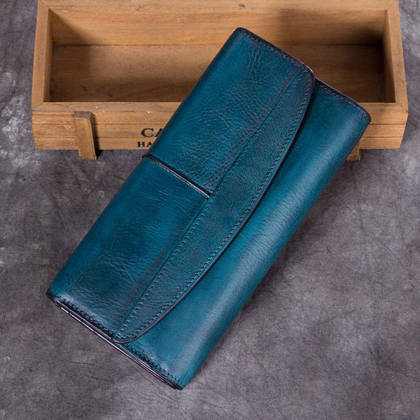 Handmade Genuine Leather Vintage Long Wallet Purse Clutch Accessories Gift Women Blue