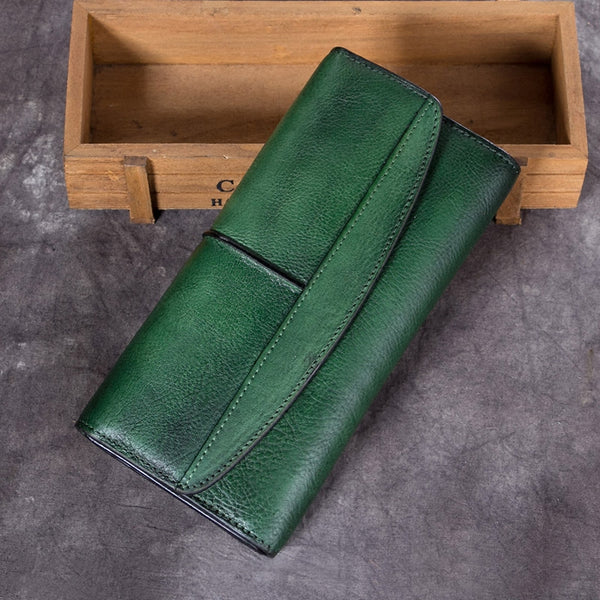 Handmade Genuine Leather Vintage Long Wallet Purse Clutch Accessories Gift Women Dark Green