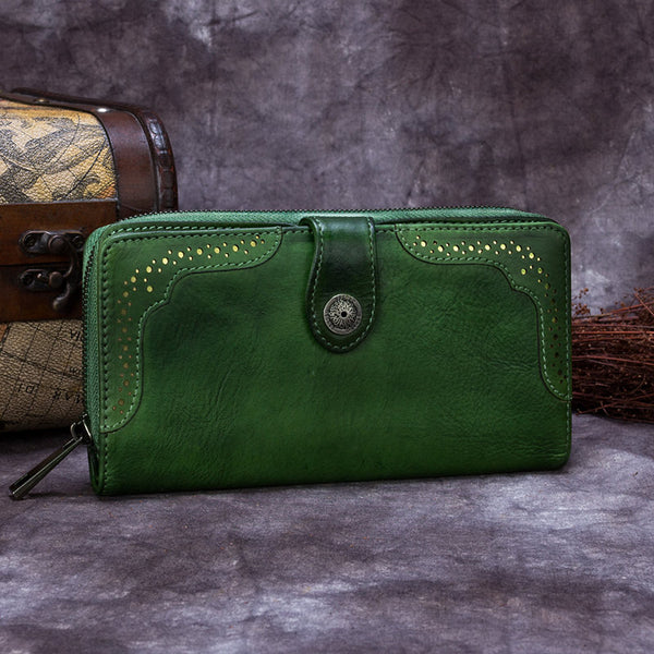 Handmade Genuine Leather Vintage Long Wallet Purse Clutch Accessories Gift Women Green
