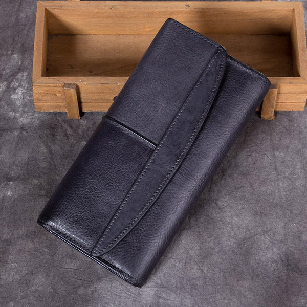 Handmade Genuine Leather Vintage Long Wallet Purse Clutch Accessories Gift Women Grey