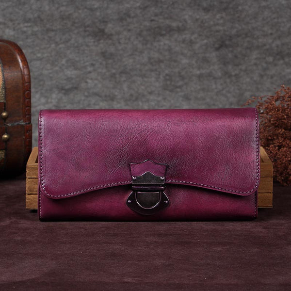 Handmade Genuine Leather Vintage Long Wallet Purse Clutch Accessories Gift Women Purple