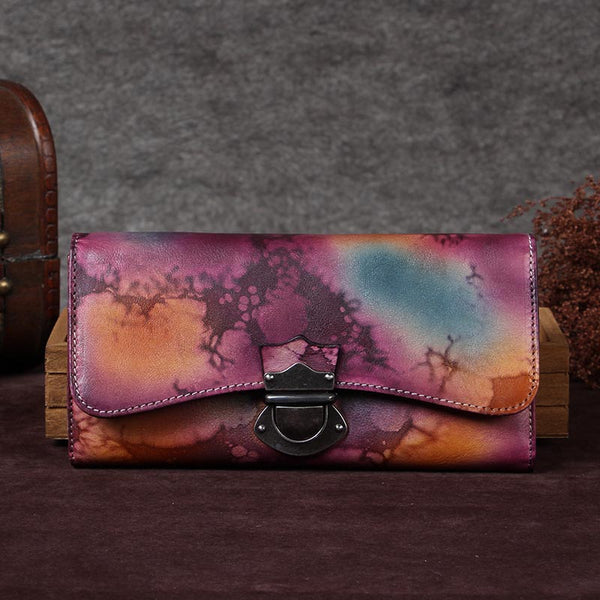 Handmade Genuine Leather Vintage Long Wallet Purse Clutch Accessories Gift Women Purple&Yellow