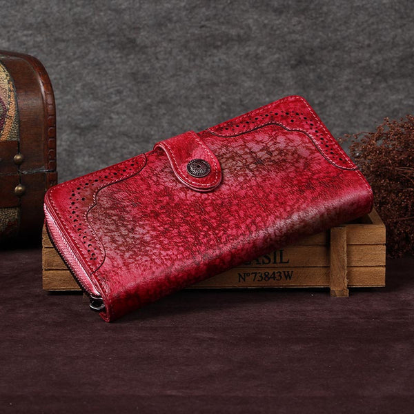 Handmade Genuine Leather Vintage Long Wallet Purse Clutch Accessories Gift Women Red-Coffee