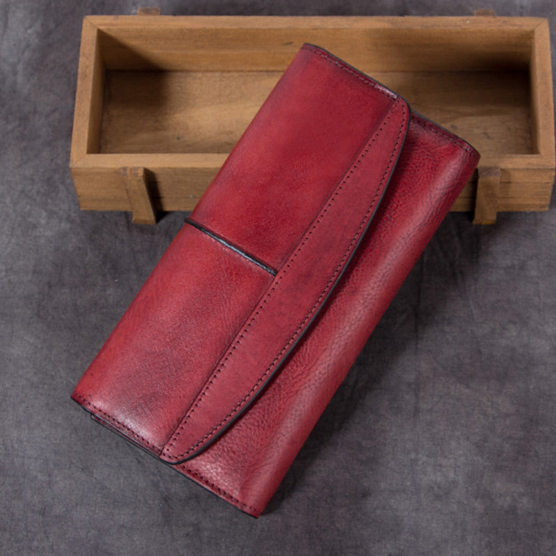 Handmade Genuine Leather Vintage Long Wallet Purse Clutch Accessories Gift Women Red