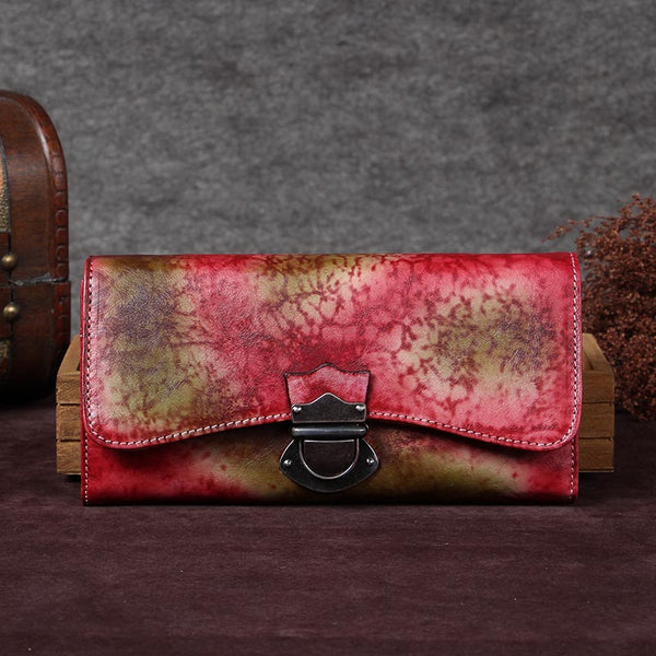 Handmade Genuine Leather Vintage Long Wallet Purse Clutch Accessories Gift Women Red&Coffee