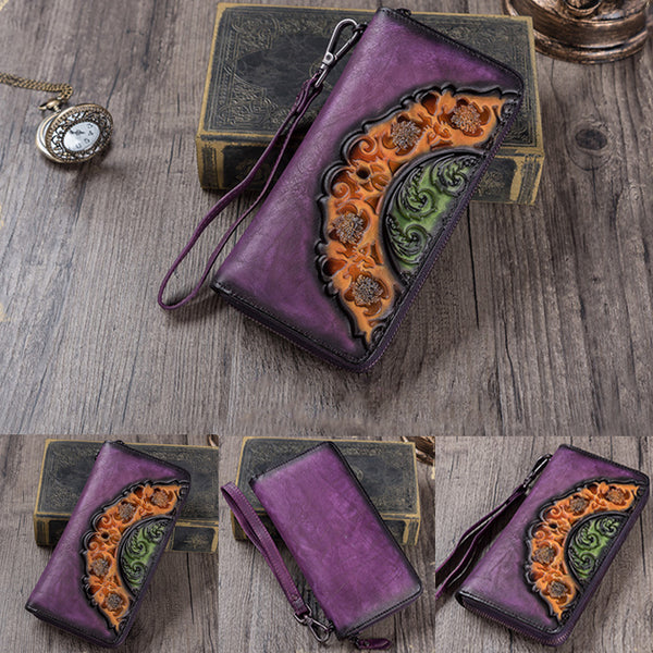 Handmade Genuine Leather Vintage Long Wallet Purse Clutch Accessories Gift Women Minimalism