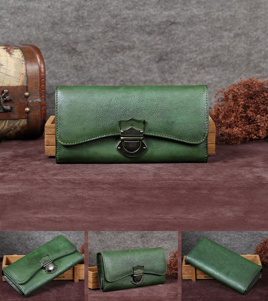 Handmade Genuine Leather Vintage Long Wallet Purse Clutch Accessories Gift Women Unique