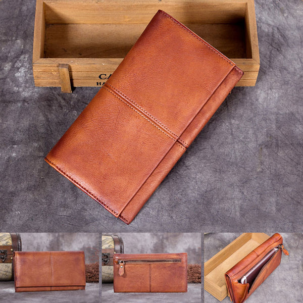 Handmade Genuine Leather Vintage Long Wallet Purse Clutch Accessories Gift Women Vintage details