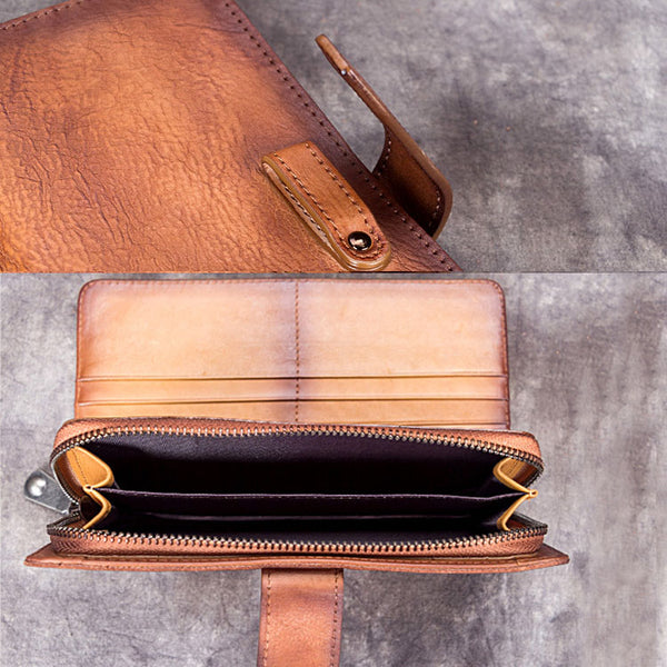 Handmade Genuine Leather Vintage Long Wallet Purse Clutch Accessories Gift Women Vintage