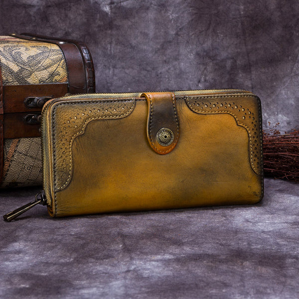 Handmade Genuine Leather Vintage Long Wallet Purse Clutch Accessories Gift Women Yellow