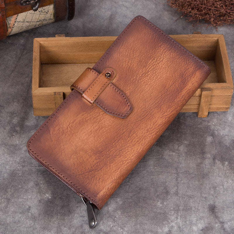 756bed9789120 Handmade Genuine Leather Vintage Long Wallet Purse Clutch Accessories Gift Women  brown