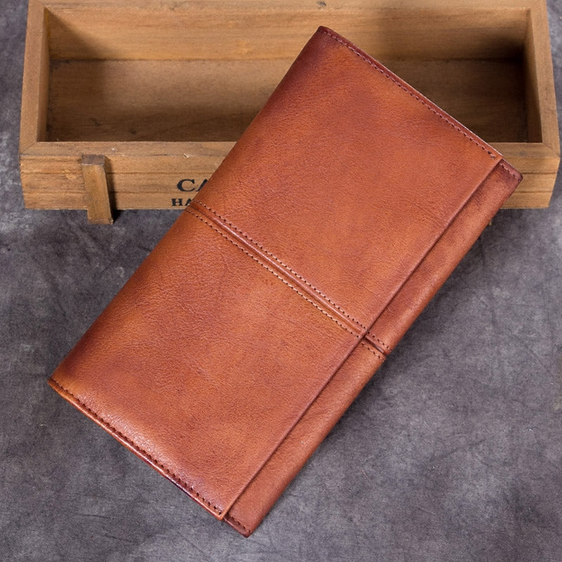 Handmade Genuine Leather Vintage Long Wallet Purse Clutch Accessories Gift Women brown