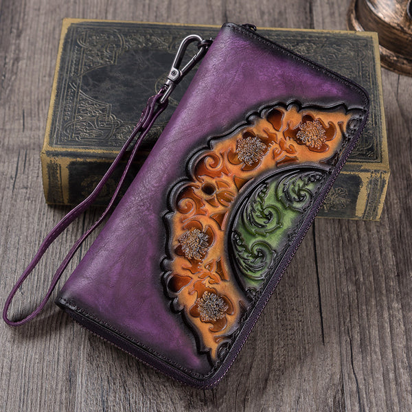 Handmade Genuine Leather Vintage Long Wallet Purse Clutch Accessories Gift Women chic
