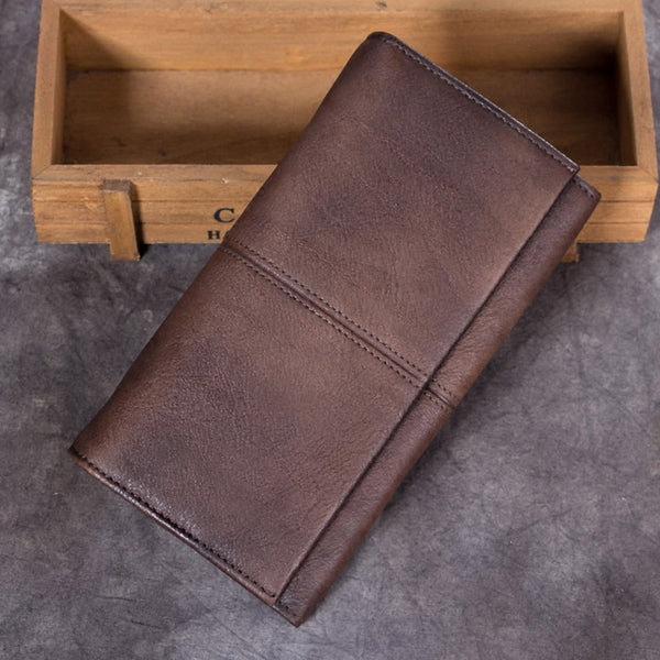 Handmade Genuine Leather Vintage Long Wallet Purse Clutch Accessories Gift Women coffee