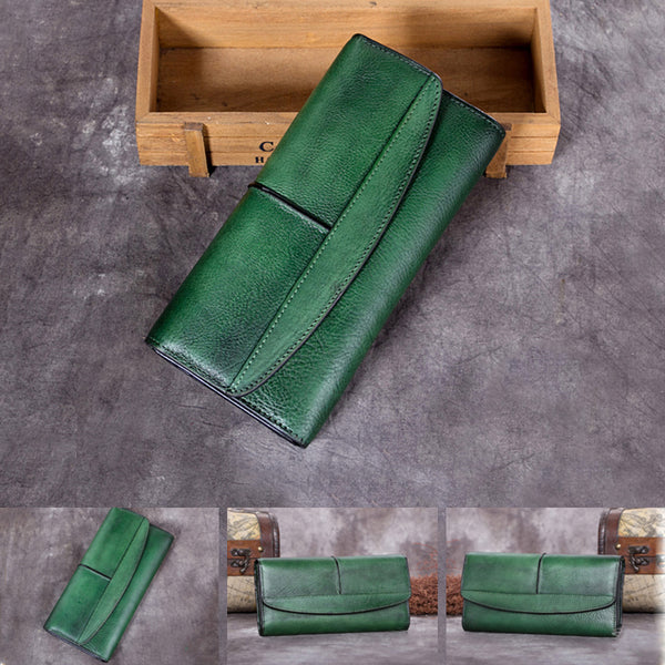 Handmade Genuine Leather Vintage Long Wallet Purse Clutch Accessories Gift Women cool