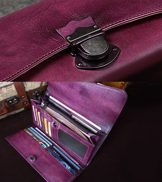 Handmade Genuine Leather Vintage Long Wallet Purse Clutch Accessories Gift Women details