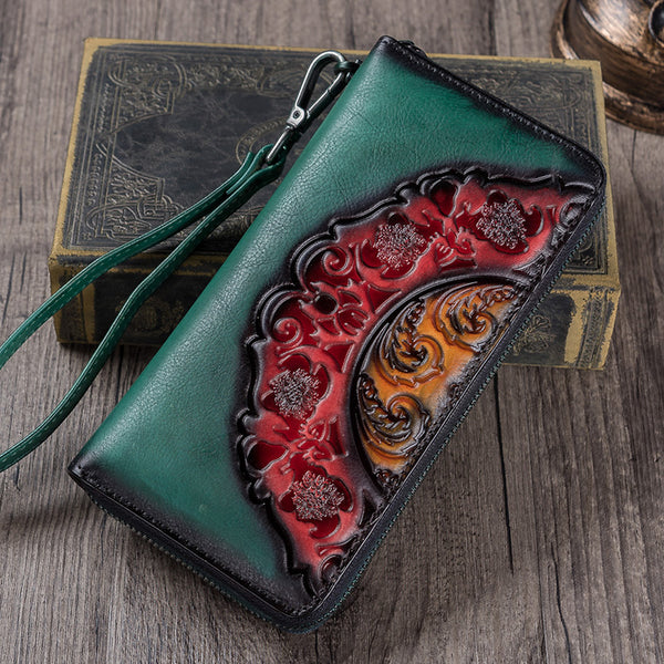 Handmade Genuine Leather Vintage Long Wallet Purse Clutch Accessories Gift Women elegant