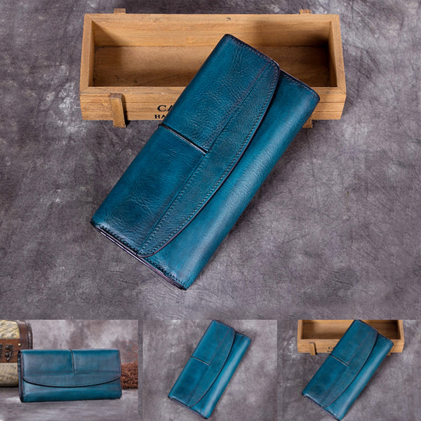 Handmade Genuine Leather Vintage Long Wallet Purse Clutch Accessories Gift Women fine