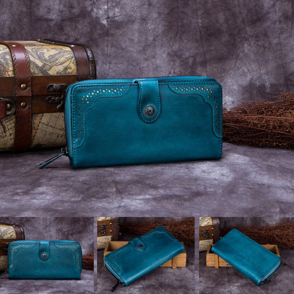 Handmade Genuine Leather Vintage Long Wallet Purse Clutch Accessories Gift Women gift