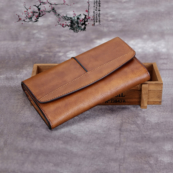 Handmade Genuine Leather Vintage Long Wallet Purse Clutch Accessories Gift Women girl