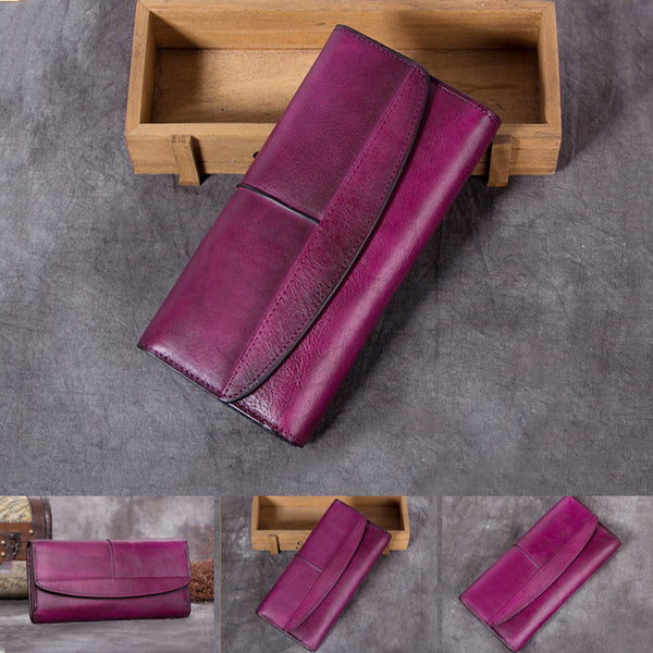 Handmade Genuine Leather Vintage Long Wallet Purse Clutch Accessories Gift Women men