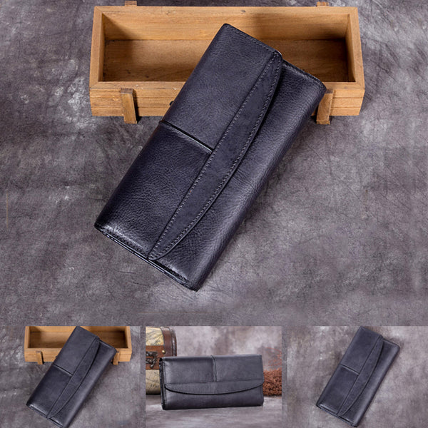 Handmade Genuine Leather Vintage Long Wallet Purse Clutch Accessories Gift Women nice