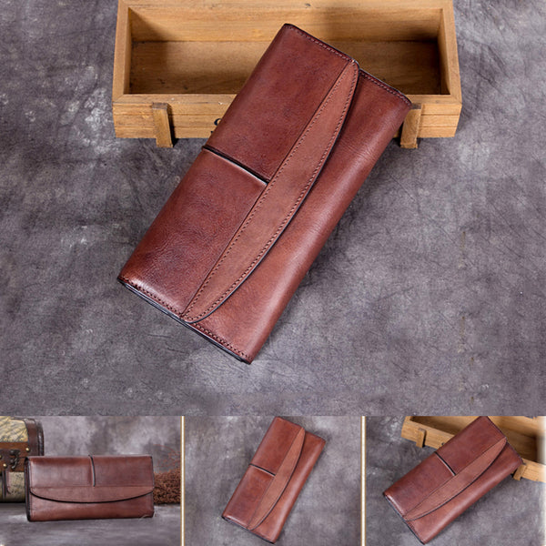 Handmade Genuine Leather Vintage Long Wallet Purse Clutch Accessories Gift Women wonderful