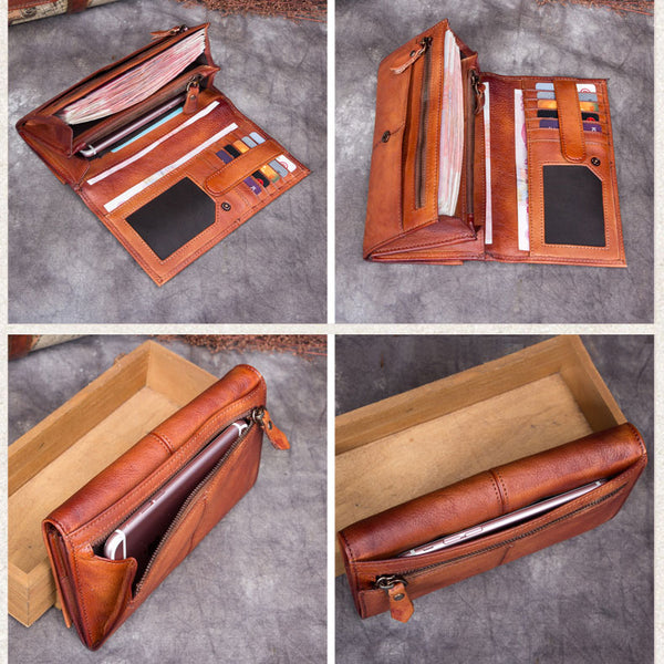 Handmade Genuine Leather Vintage Long Wallet Purse Clutch Accessories Gift Women