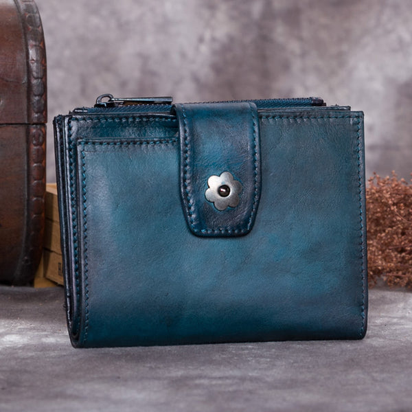 Handmade Genuine Leather Vintage Short Wallet Purse Accessories Gift Women Blue