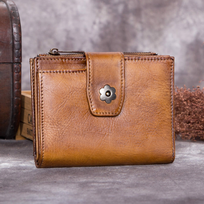 Handmade Genuine Leather Vintage Short Wallet Purse Accessories Gift Women Brown