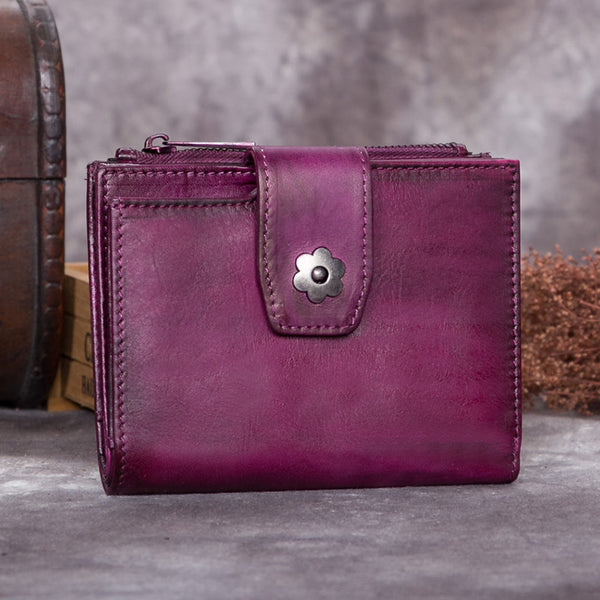 Handmade Genuine Leather Vintage Short Wallet Purse Accessories Gift Women Purple