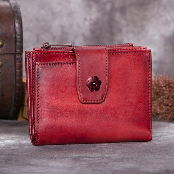 Handmade Genuine Leather Vintage Short Wallet Purse Accessories Gift Women Red
