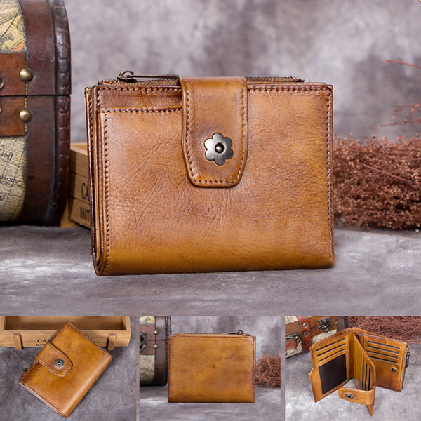 Handmade Genuine Leather Vintage Short Wallet Purse Accessories Gift Women Unique