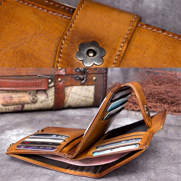 Handmade Genuine Leather Vintage Short Wallet Purse Accessories Gift Women